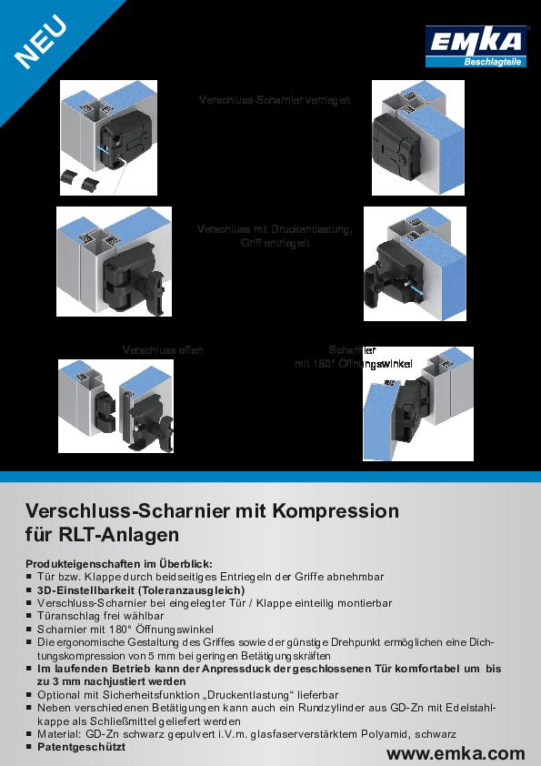 Verschluss-Scharnier mit Kompression für RLT-Anlagen