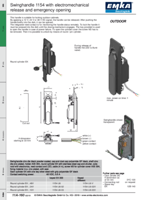 11A-160: Swinghandle 1154 with electromechanical release and emergency opening