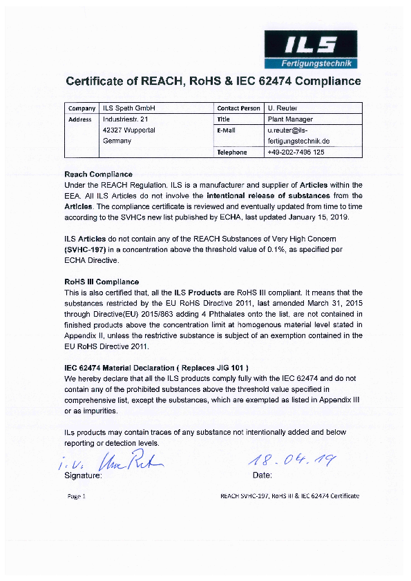 [Translate to de_de:] RoHS III Konformität / IEC 62474 Material Deklaration