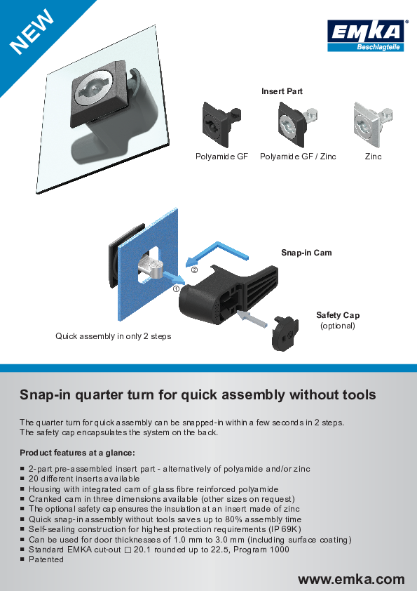 Snap-in quarter turn for quick assembly without tools