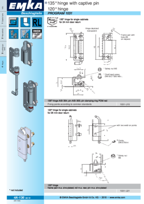 4A-136: 135° hinge with captive pin and 120° hinge Program 1031