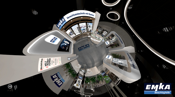 EMKA's digital showroom offers informative content on a 360-degree tour.